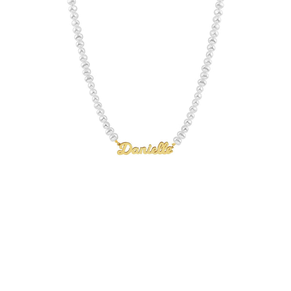 THE PEARL NAMEPLATE NECKLACE
