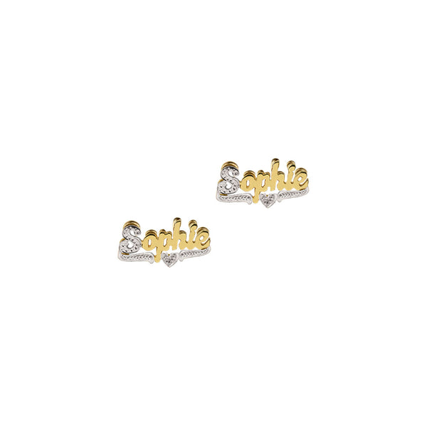 THE DOUBLE PLATED CLASSIC SCRIPT STUD EARRINGS