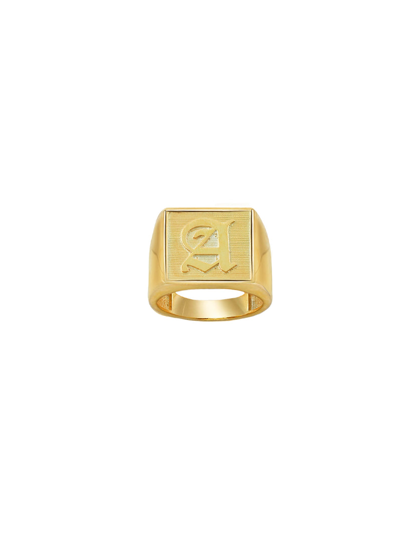 GOLD OLD ENGLISH SQUARE SIGNET RING