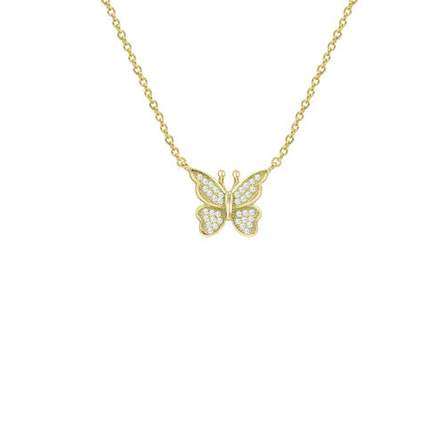 THE PAVE' BUTTERFLY PENDANT NECKLACE