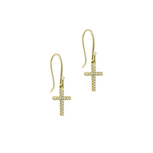 THE FRENCH HOOK PAVE CROSS EARRINGS