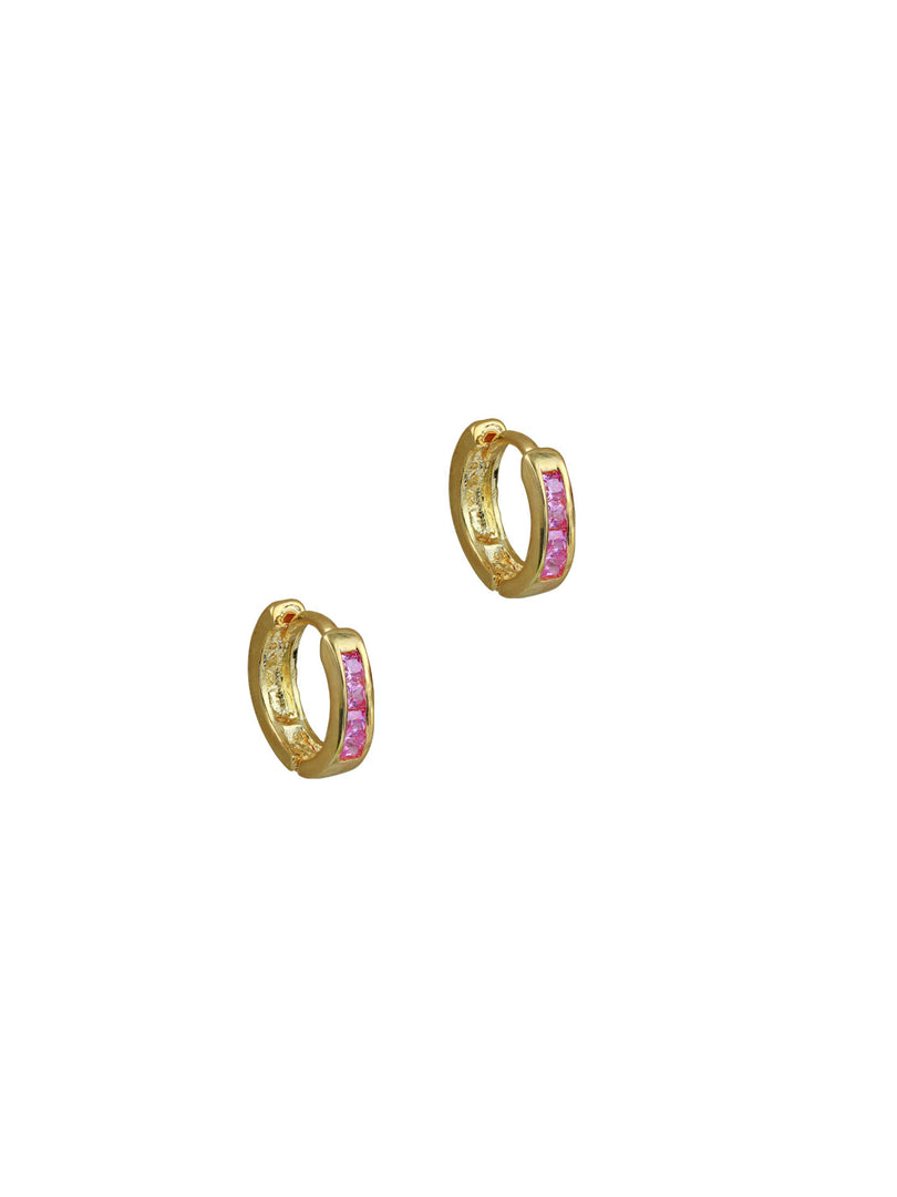 THE TINY PINK HUGGIE HOOP EARRINGS