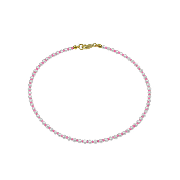 THE HAND STRUNG COLOR PEARL CHOKER NECKLACE