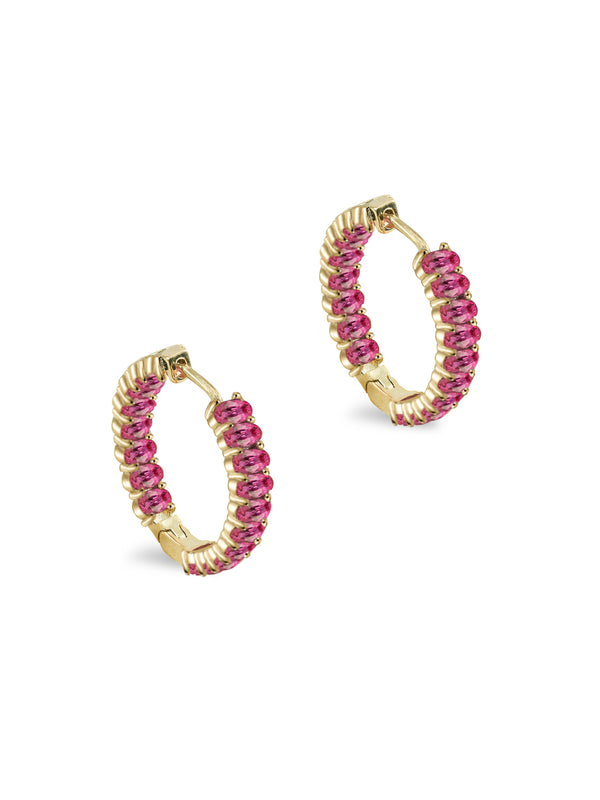 THE OVAL RUBY HOOP EARRINGS