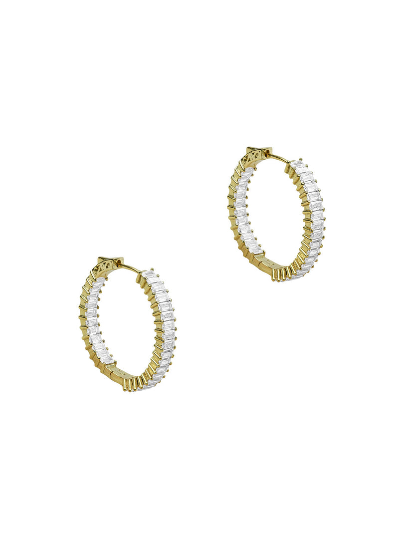 THE EMERALD CUT HOOP EARRINGS (MEDIUM)