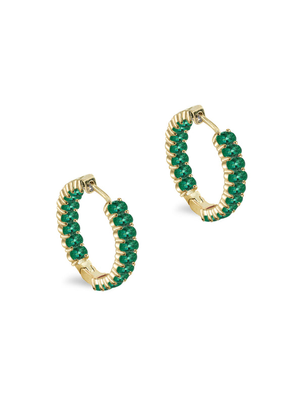 THE OVAL EMERALD HOOP EARRINGS