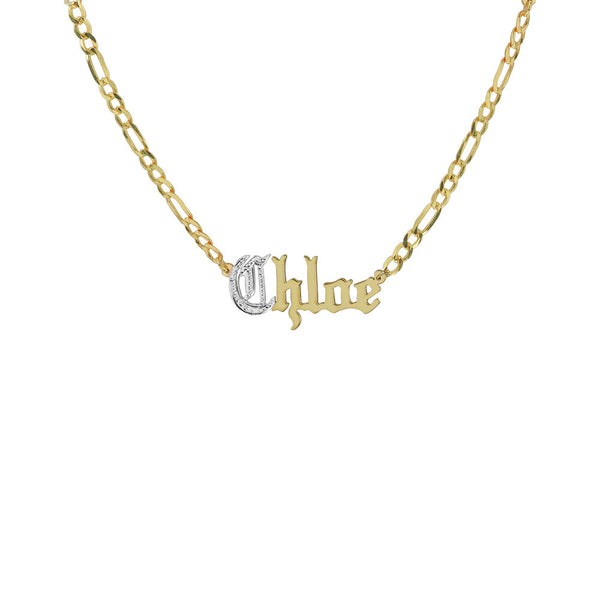 THE OLD ENGLISH CUT FIGARO NAMEPLATE NECKLACE
