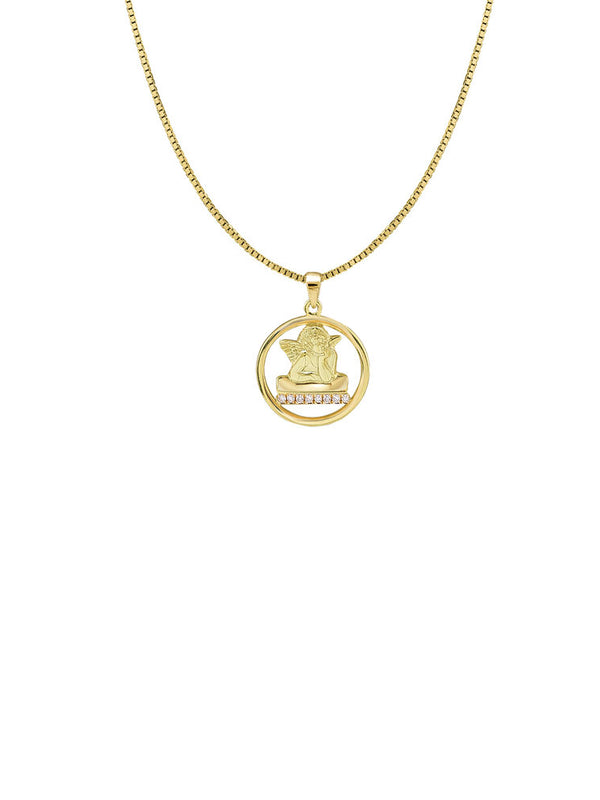 THE CHYRISTIE PAVE' ANGEL PENDANT NECKLACE