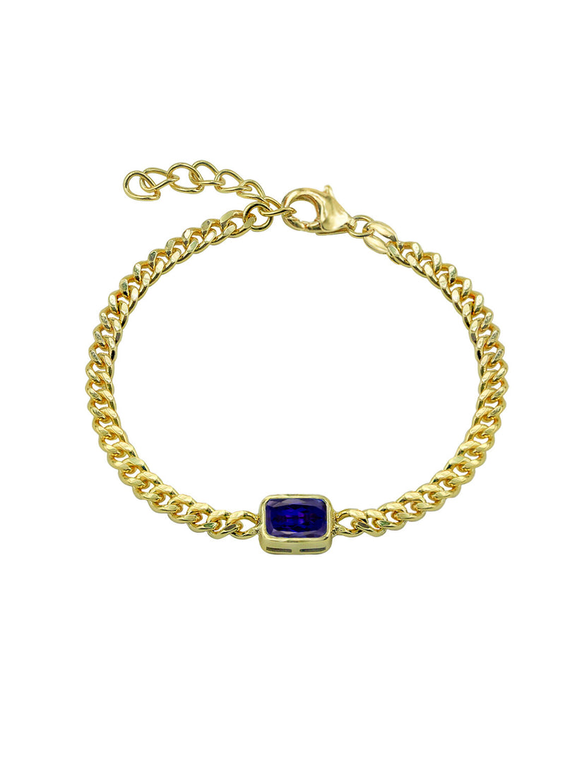 THE COLORED STONE CURB LINK BRACELET