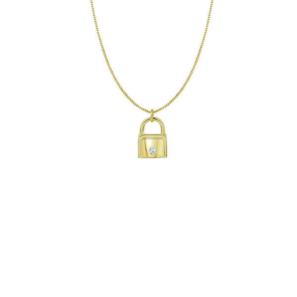 THE MINI LOCK & STONE NECKLACE