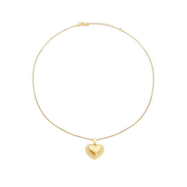 THE AYA PAVE' HEART PENDANT NECKLACE
