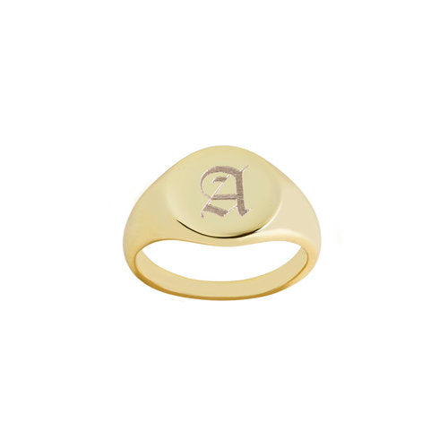 THE SIGNATURE OLD ENGLISH SIGNET RING