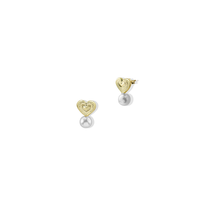 THE BELLA PEARL HEART STUDS