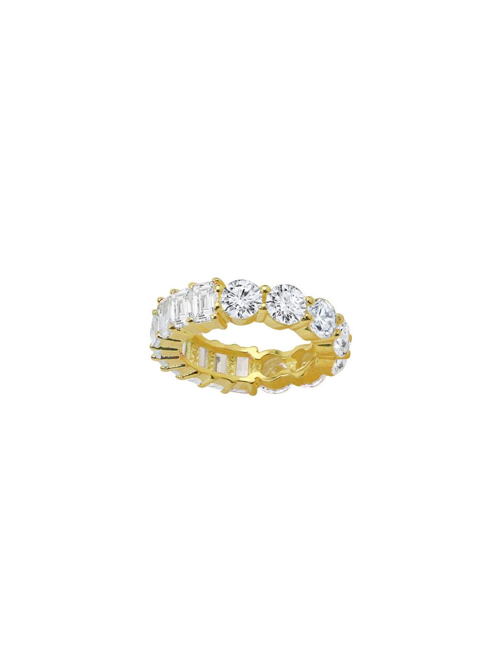 THE EMERALD CUT ROUND STONE ETERNITY BAND