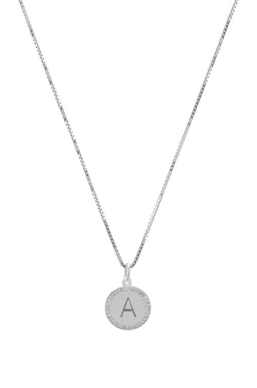 THE 14KT GOLD BLOCK ENGRAVED CIRCLE PENDANT NECKLACE