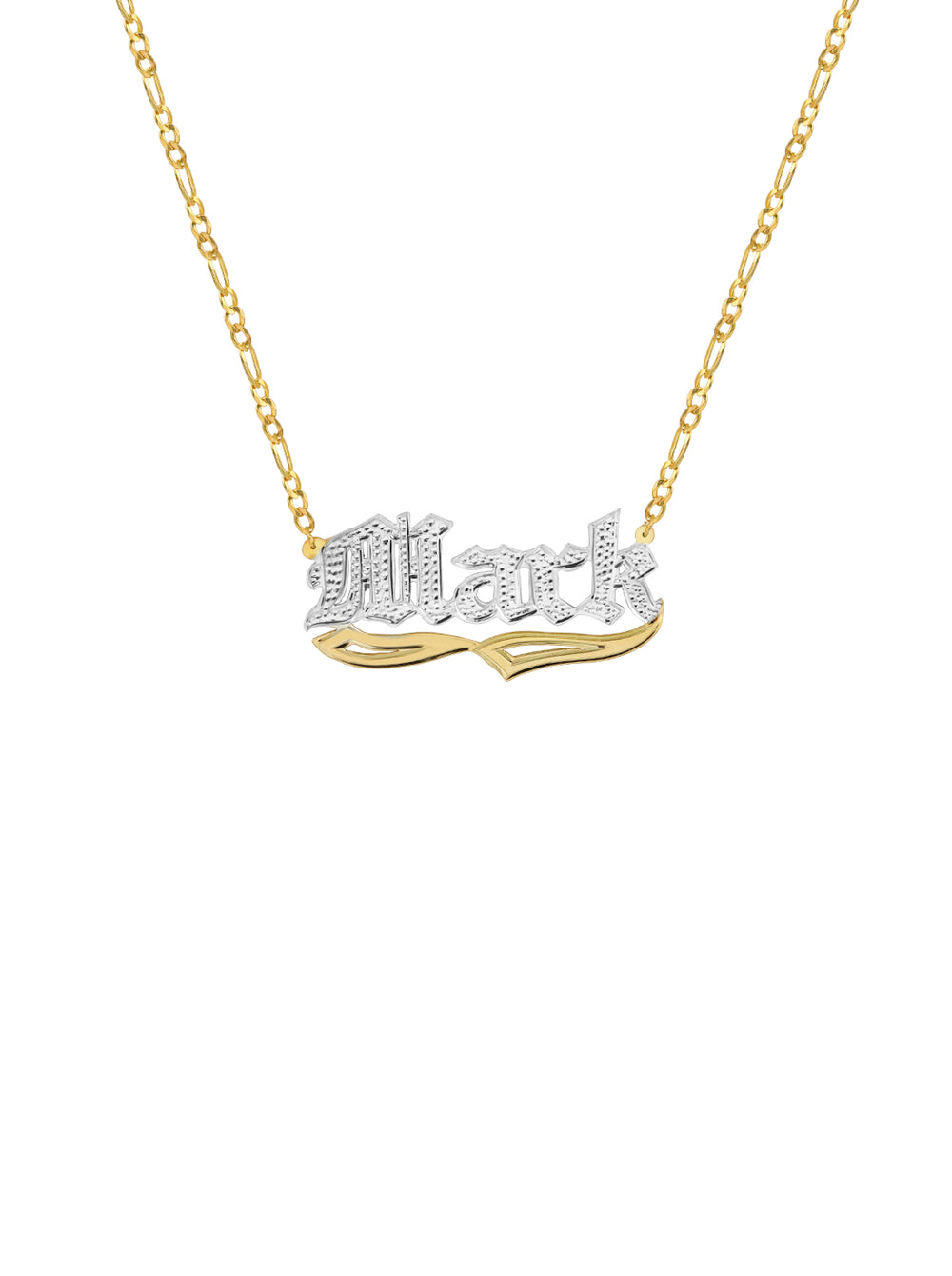 THE OLD ENGLISH FIGARO CUT CLASSIC NAMEPLATE NECKLACE  (CHAPTER II BY GREG YÜNA X THE M JEWELERS)