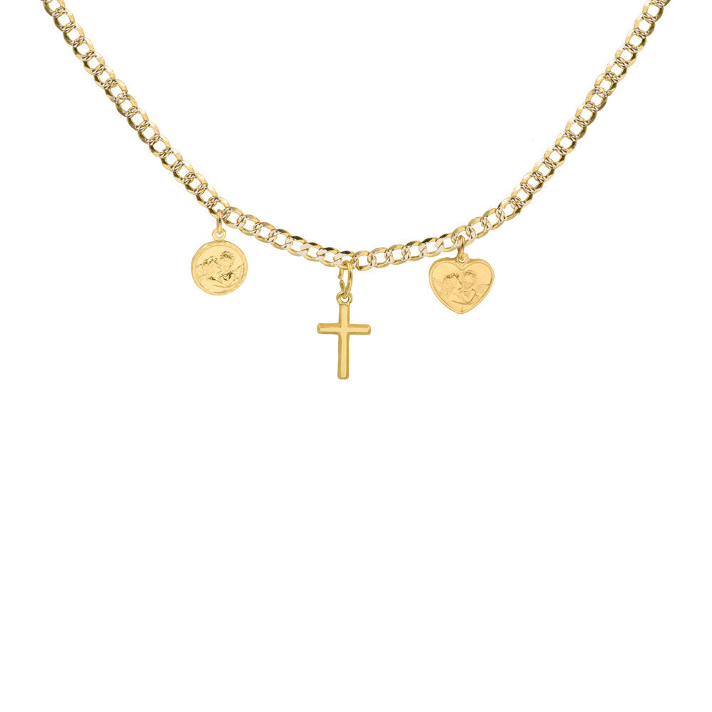 THE FULL CURB ANGEL CROSS NECKLACE