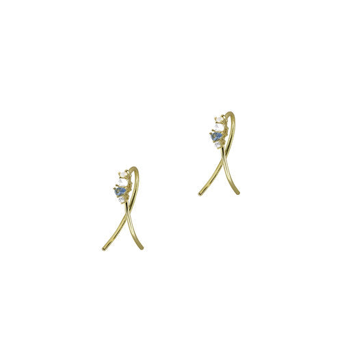 THE MULTI STONE TWISTED HOOP EARRING