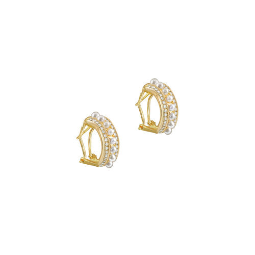 THE TWO ROW PAVE' PEARL EARRINGS
