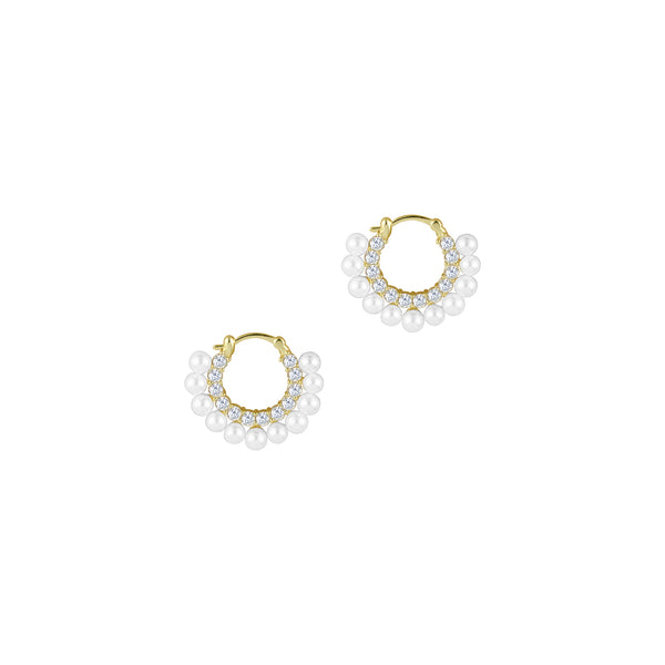 THE DANI PAVE' PEARL HOOP EARRINGS