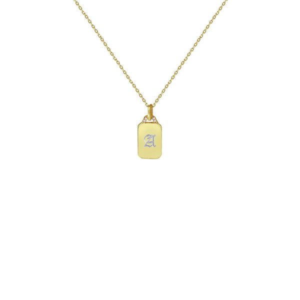 THE OLD ENGLISH DAINTY PAVE ENGRAVED DOGTAG