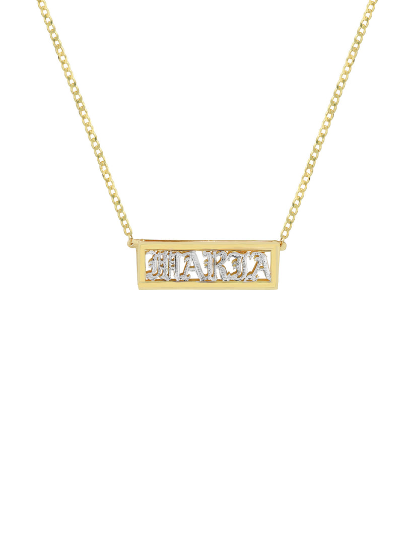 THE DOUBLE PLATE BOXED UPPERCASE OLD ENGLISH NECKLACE  (CHAPTER II BY GREG YÜNA X THE M JEWELERS)