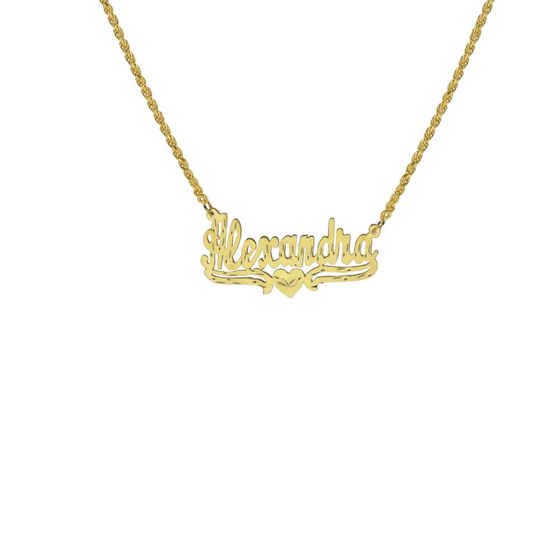 THE SINGLE HEART ROPE CUT NAMEPLATE NECKLACE