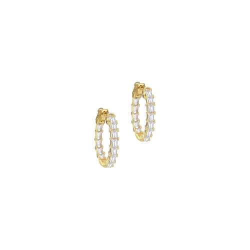 THE EMERALD CUT HOOP EARRINGS