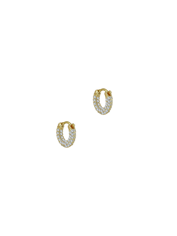 THE TINY SADIE PAVE' HOOP EARRINGS