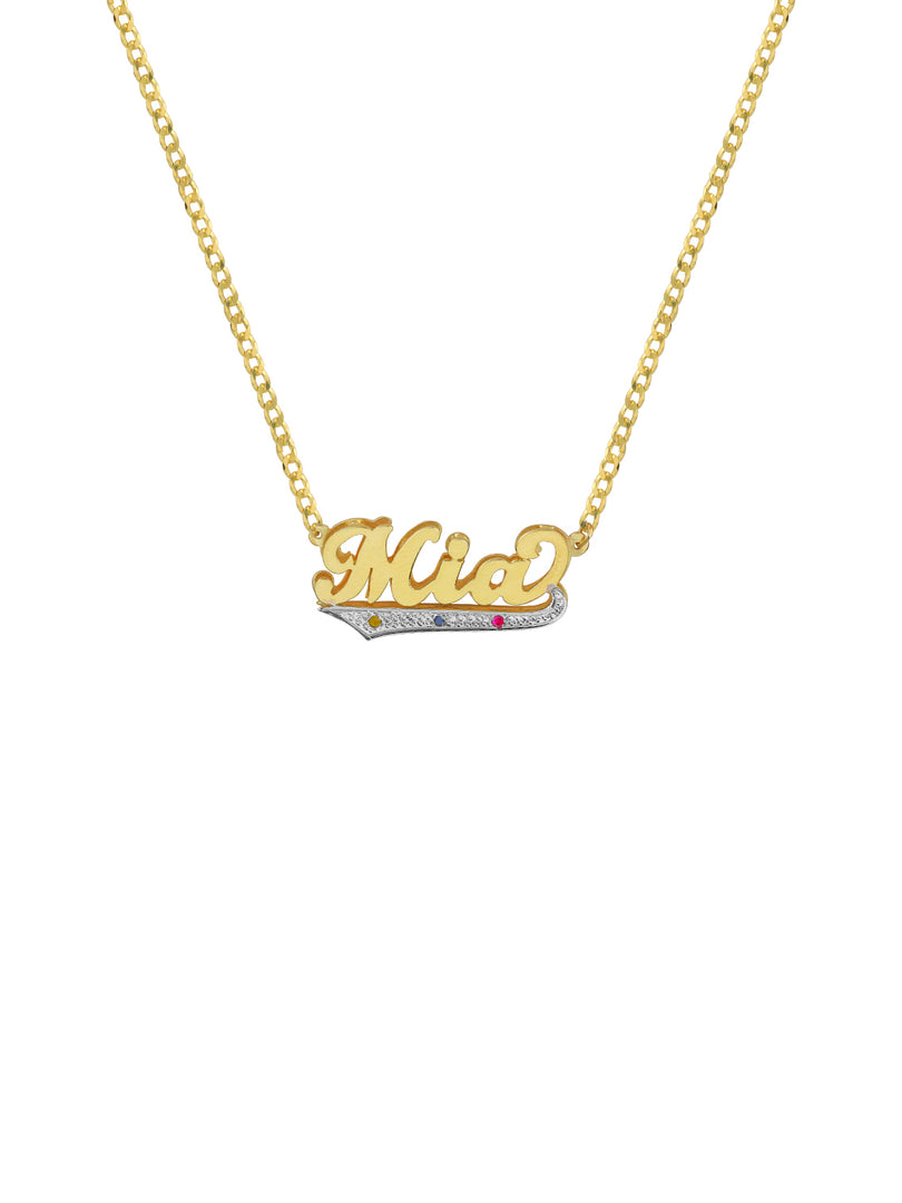 THE THREE STONE SCRIPT DOUBLE PLATE NAMEPLATE NECKLACE