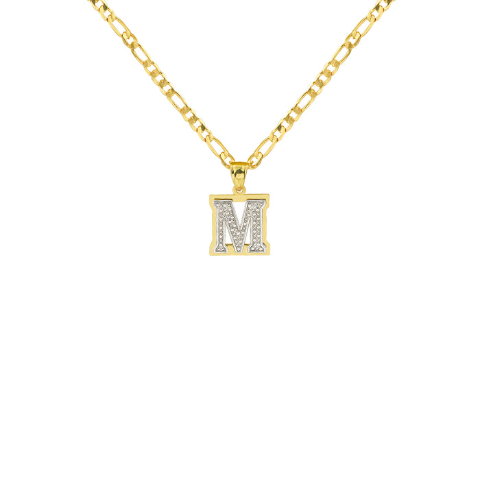 THE DOUBLE PLATE SINGLE CUT VARSITY INITIAL NECKLACE (UPPERCASE)