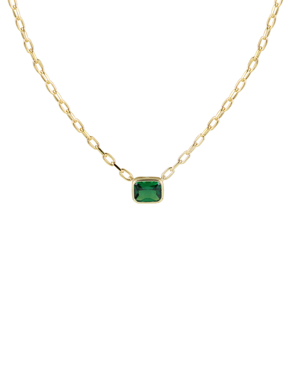THE GREEN EMERALD REDA LINK NECKLACE (CHAPTER II BY GREG YÜNA X THE M JEWELERS)