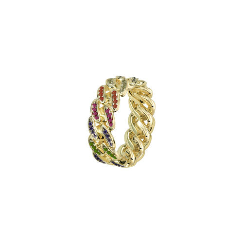 THE RAINBOW CUBAN LINK RING