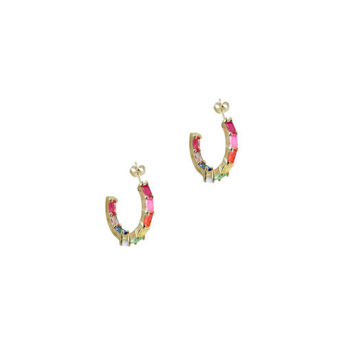 THE RAINBOW EMERALD HOOPS