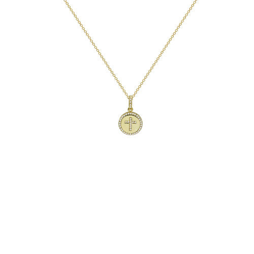 THE ROUND CROSS DISC NECKLACE