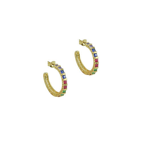 THE RAINBOW BEZEL SET OPEN HOOPS