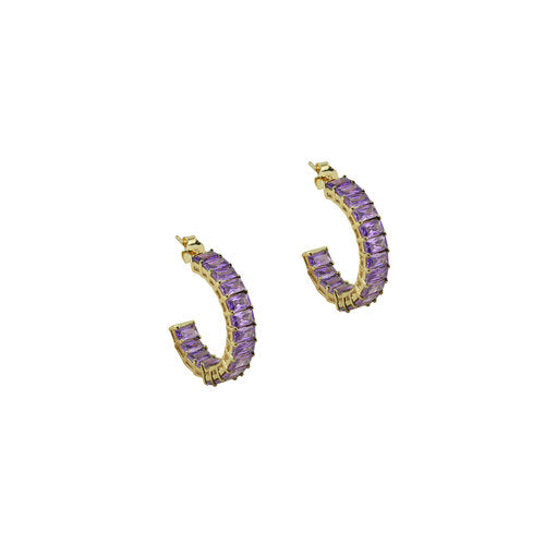 THE PURPLE EMERALD CUT EARRINGS