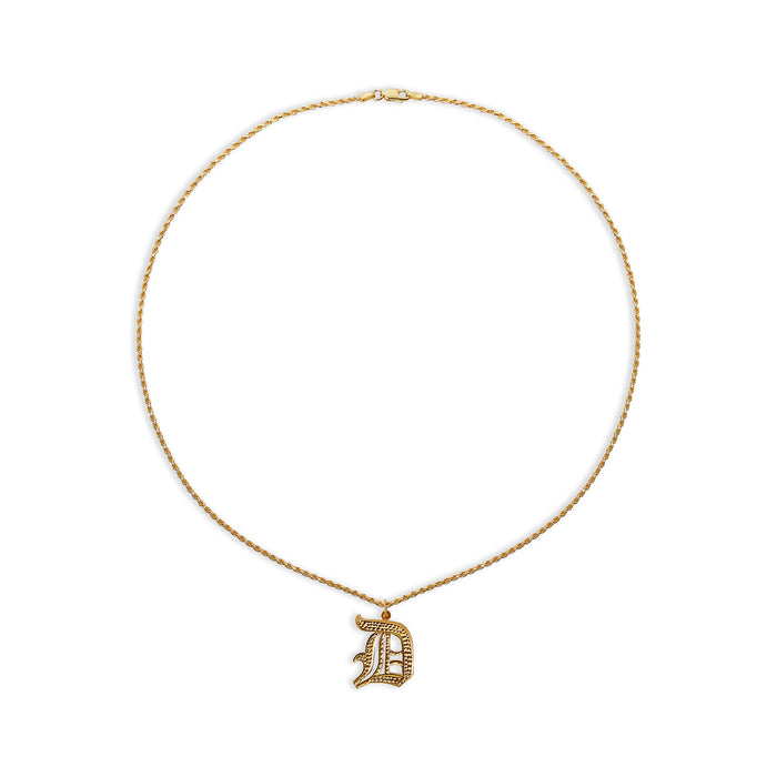 THE SINGLE DOUBLE PLATE SINGLE TONE PENDANT NECKLACE (ROPE CHAIN)
