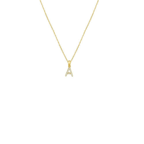THE PAVE' SINGLE BLOCK INITIAL NECKLACE