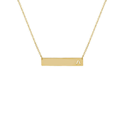 THE SINGLE INITIAL CUTOUT BAR NECKLACE