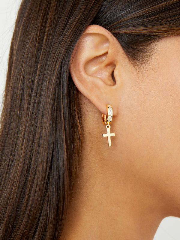 THE CHANNEL SET CROSS HUGGIE EARRINGS