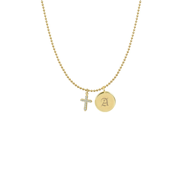 PAVE CROSS INITIAL DISC NECKLACE