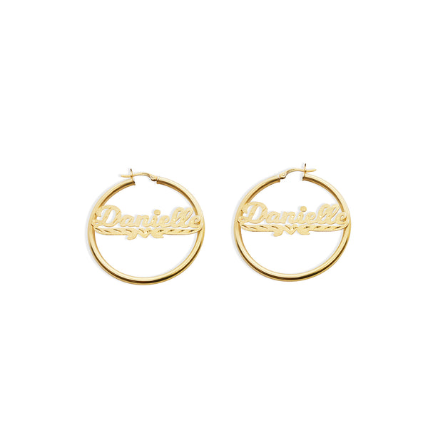THE SCRIPT DIAMOND CUT SINGLE HEART HOOP EARRINGS