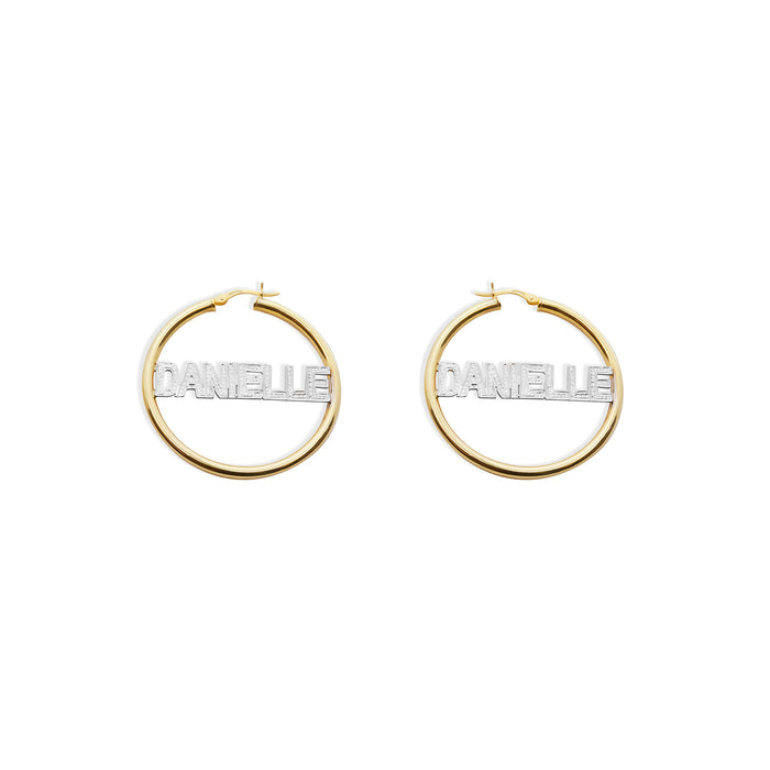 THE BLOCK DIAMOND CUT HOOP EARRINGS