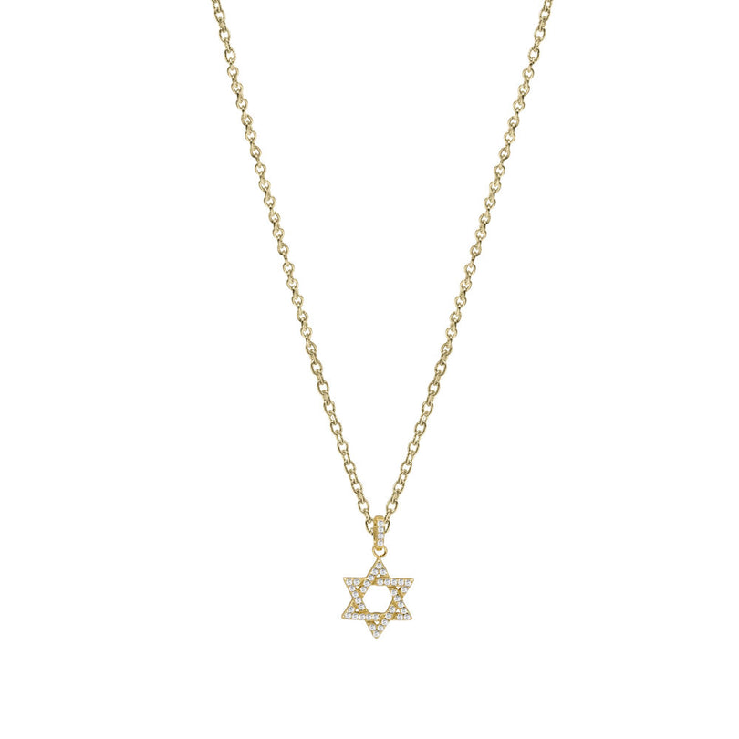 THE MICRO PAVE' STAR OF DAVID PENDANT NECKLACE