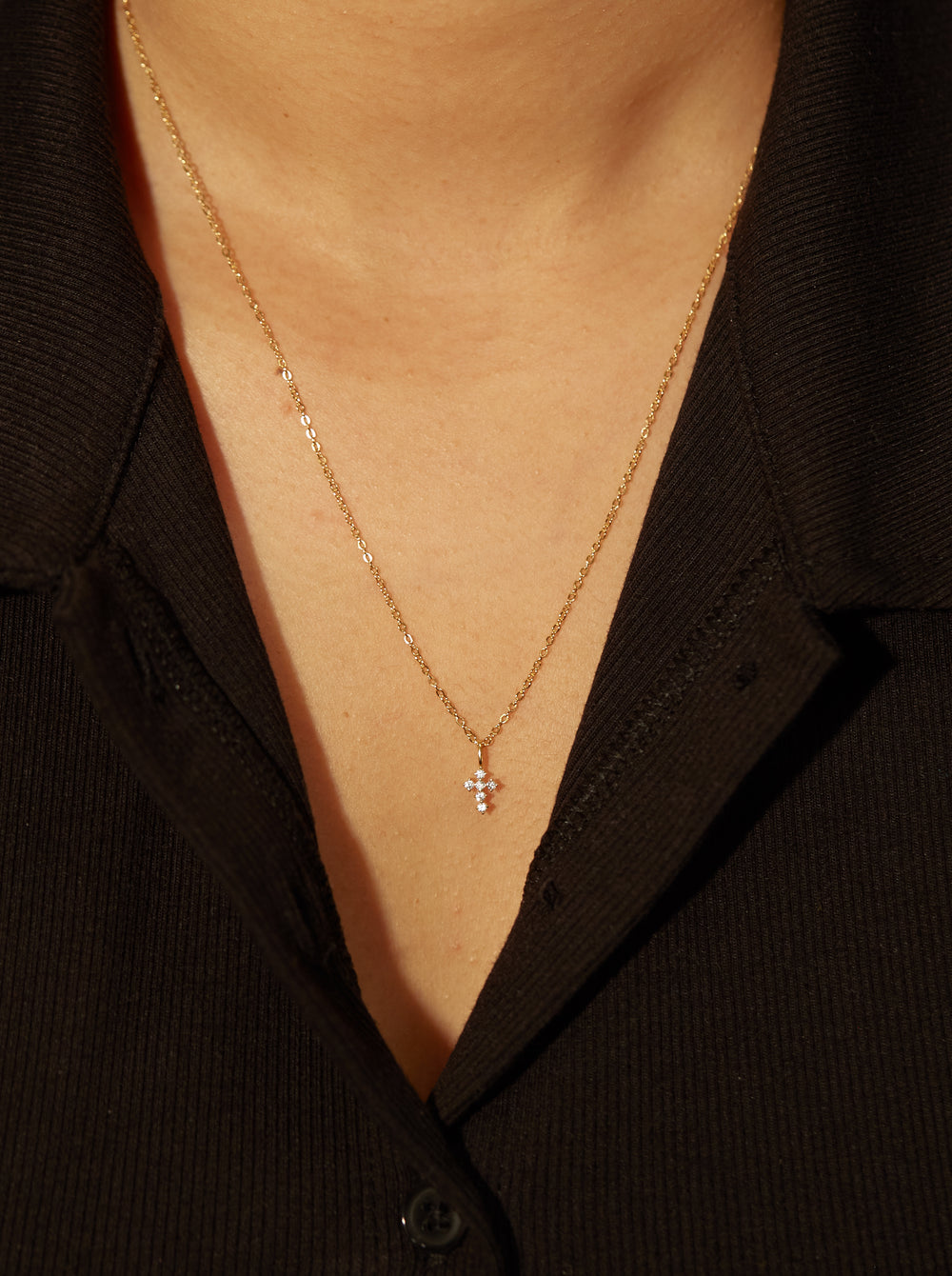 THE TINY PAVE' CROSS NECKLACE