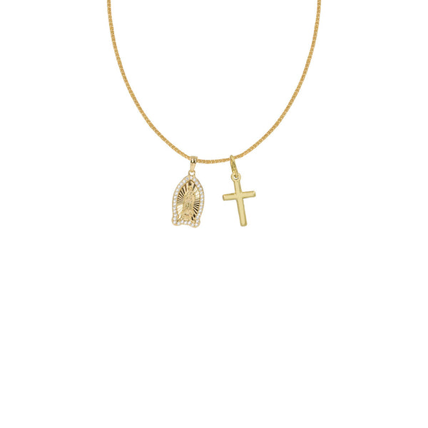 THE HALO PAVE' MARY CROSS NECKLACE