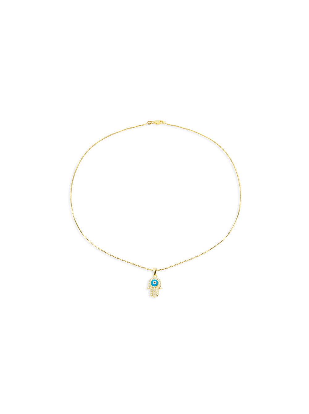 THE PAVE' EVIL EYE HAMSA NECKLACE