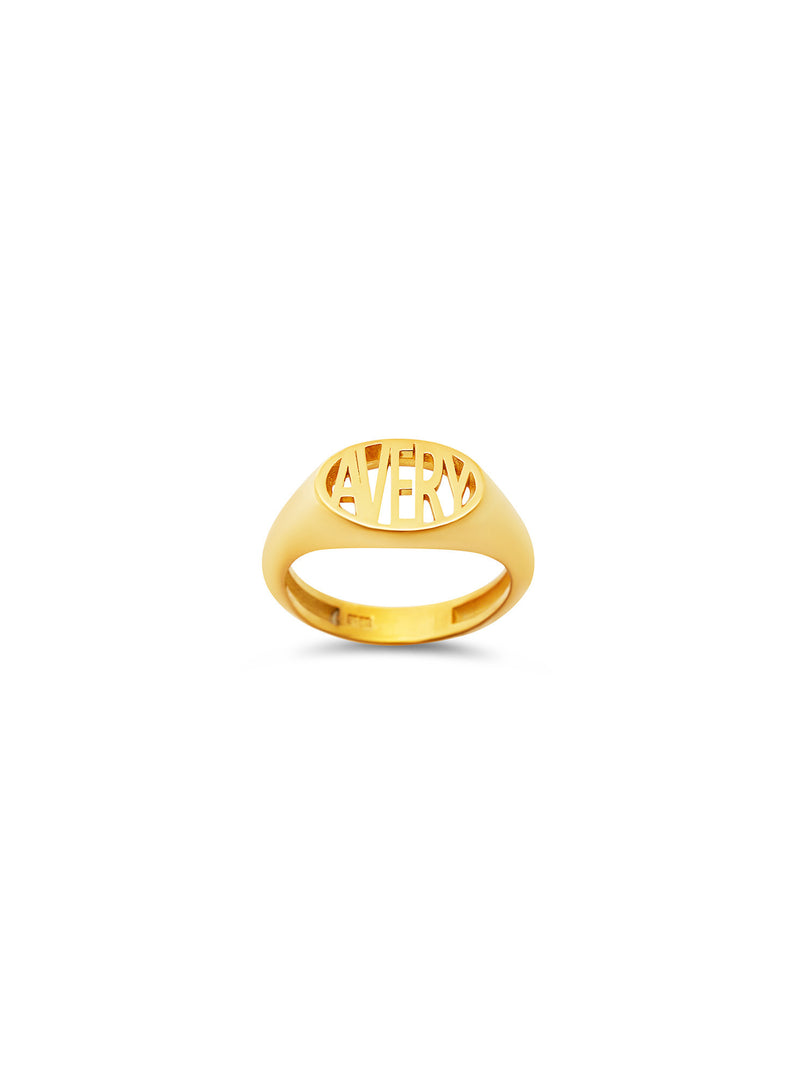 THE OVAL BLOCK NAME RING