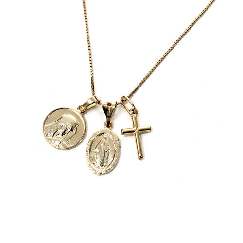 THE MULTIPLE MEDAL CROSS NECKLACE